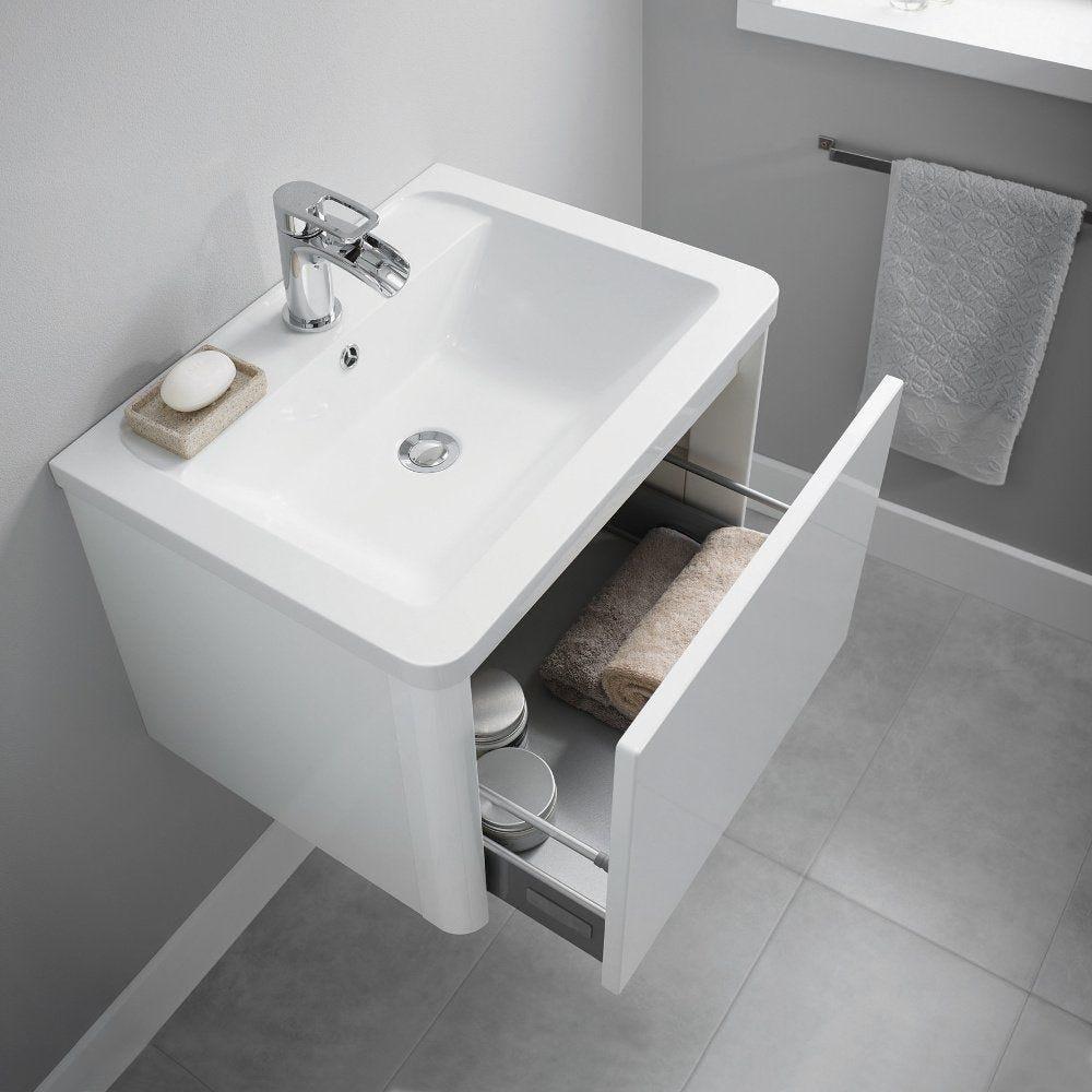 Nara White Gloss 600mm Wall Hung Vanity Unit Basin