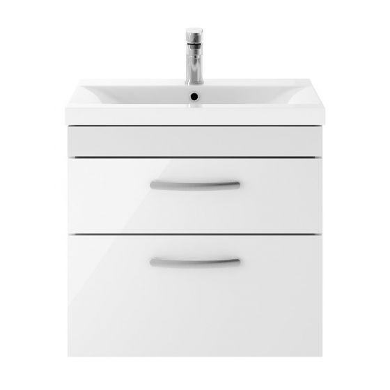 Nuie Athena 600mm 2 Drawer Wall Hung Cabinet & Minimalist Basin - Gloss White