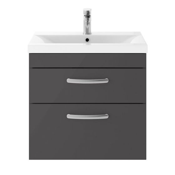 Nuie Athena 600mm 2 Drawer Wall Hung Cabinet & Minimalist Basin - Gloss Grey