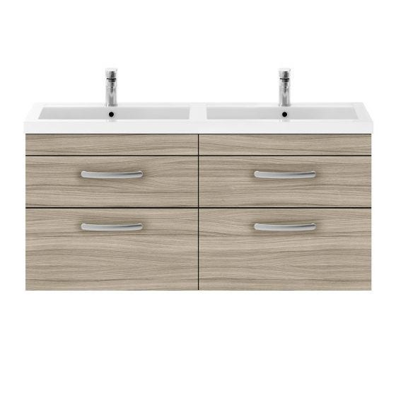 Nuie Athena 1200mm Double 2 Drawer Wall Hung Cabinet & Basin - Driftwood