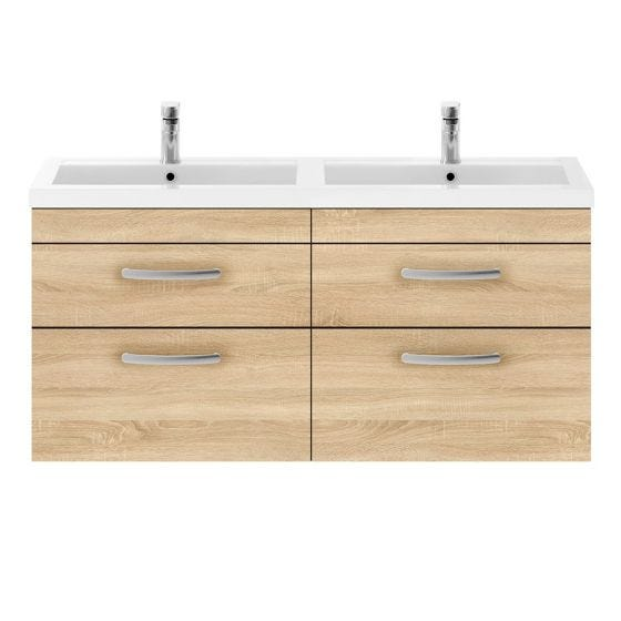 Nuie Athena 1200mm Double 2 Drawer Wall Hung Cabinet & Basin - Natural Oak