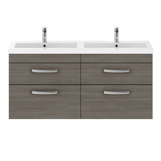 Nuie Athena 1200mm Double 2 Drawer Wall Hung Cabinet & Basin - Brown Grey Avola