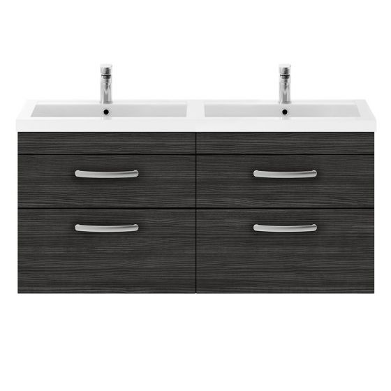 Nuie Athena 1200mm Double 2 Drawer Wall Hung Cabinet & Basin - Hacienda Black