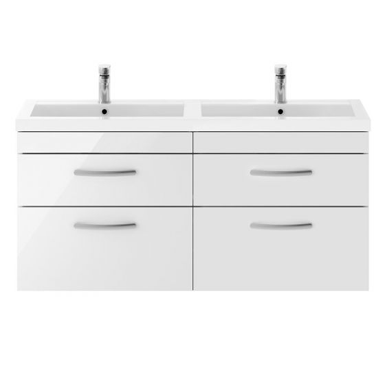 Nuie Athena 1200mm Double 2 Drawer Wall Hung Cabinet & Basin - Gloss White