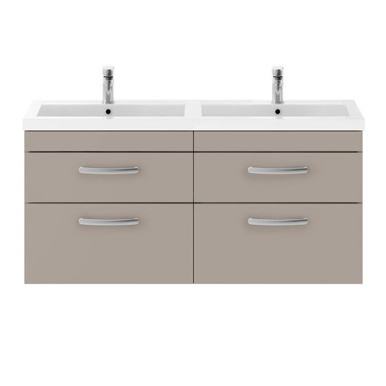 Nuie Athena 1200mm Double 2 Drawer Wall Hung Cabinet & Basin - Stone Grey