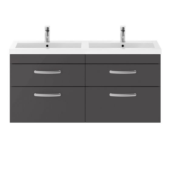 Nuie Athena 1200mm Double 2 Drawer Wall Hung Cabinet & Basin - Gloss Grey