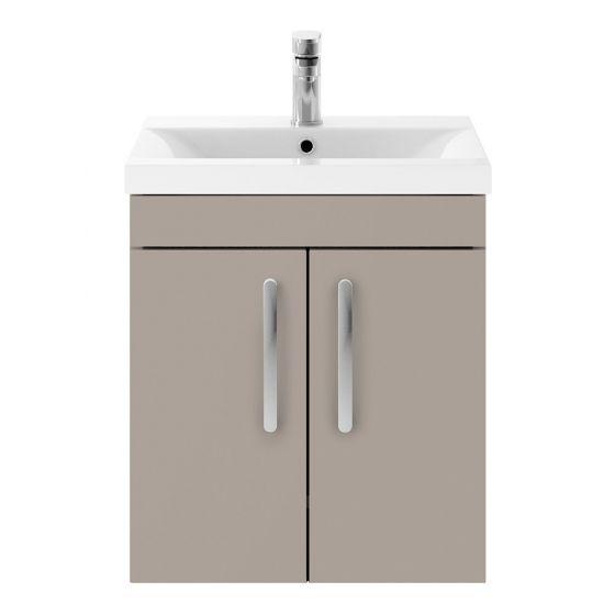 Nuie Athena 500mm 2 Door Wall Hung Cabinet & Mid-Edge Basin - Stone Grey