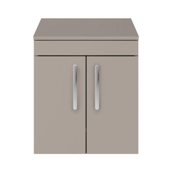 Nuie Athena 500mm 2 Door Wall Hung Cabinet & Worktop - Stone Grey