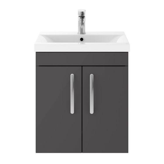 Nuie Athena 500mm 2 Door Wall Hung Cabinet & Mid-Edge Basin - Gloss Grey