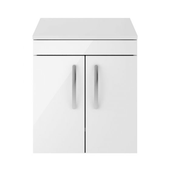 Nuie Athena 500mm 2 Door Wall Hung Cabinet & Worktop - Gloss White