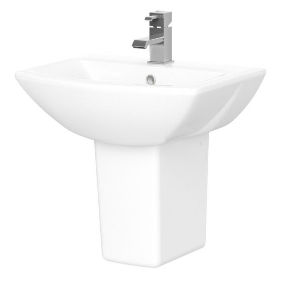 Nuie Assembly 600mm 1 Tap Hole Basin & Pedestal
