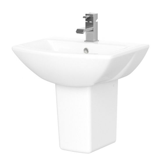 Nuie Assembly 500mm 1 Tap Hole Basin & Semi Pedestal