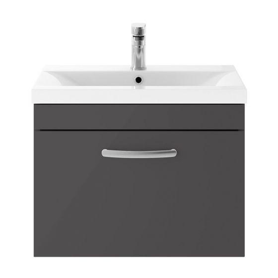 Nuie Athena 600mm Wall Hung Cabinet & Mid-Edge Basin - Gloss Grey