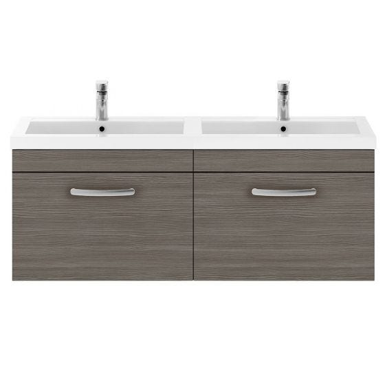 Nuie Athena 1200mm 2 Drawer Wall Hung Cabinet & Basin - Brown Grey Avola
