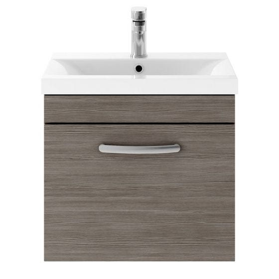 Nuie Athena 500mm Wall Hung Cabinet & Mid-Edge Basin - Brown Grey Avola