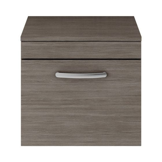Nuie Athena 500mm Wall Hung Cabinet And Worktop - Brown Grey Avola