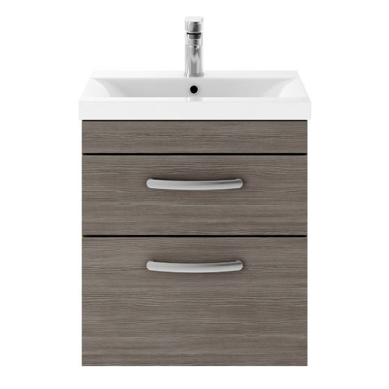 Nuie Athena 500mm 2 Drawer Wall Hung Cabinet & Mid-Edge Basin - Brown Grey Avola