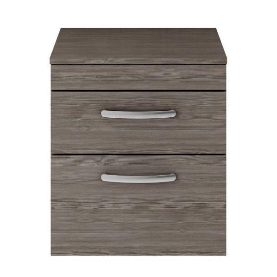 Nuie Athena 500mm 2 Drawer Wall Hung Cabinet & Worktop - Brown Grey Avola