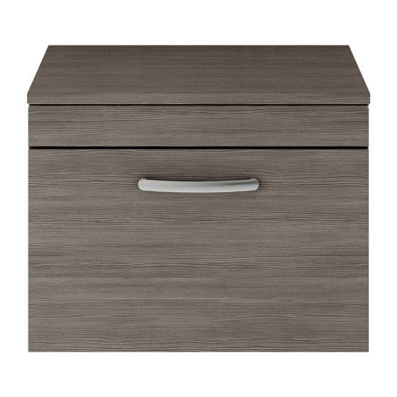 Nuie Athena 600mm Wall Hung Cabinet And Worktop - Brown Grey Avola
