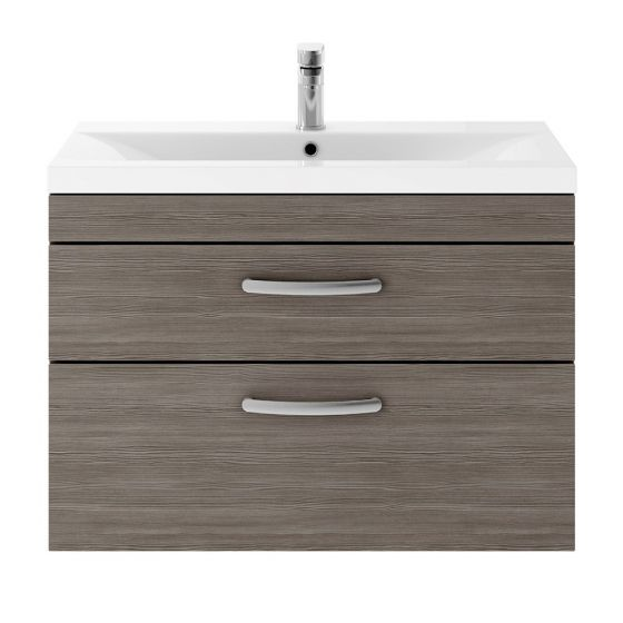 Nuie Athena 800mm 2 Drawer Wall Hung Cabinet & Mid-Edge Basin - Brown Grey Avola
