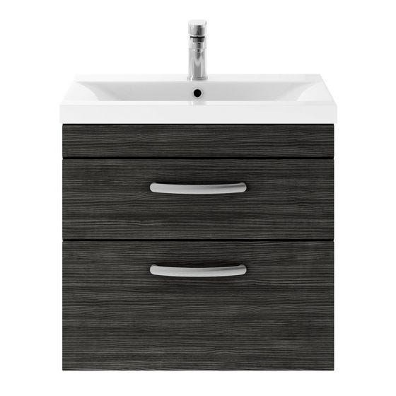 Nuie Athena 600mm 2 Drawer Wall Hung Cabinet & Minimalist Basin - Hacienda Black