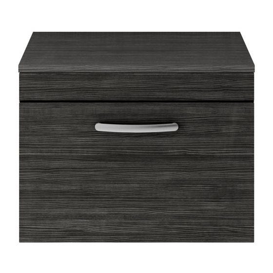 Nuie Athena 600mm Wall Hung Cabinet And Worktop - Hacienda Black