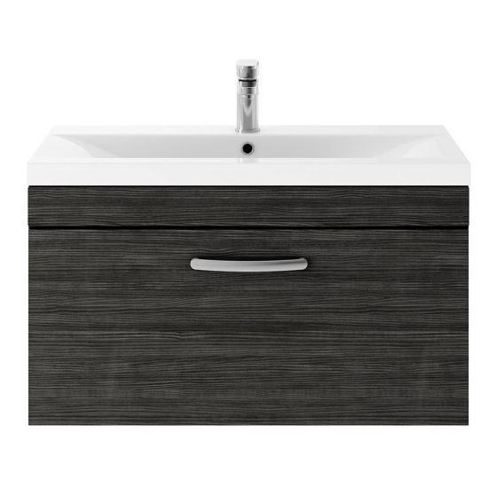 Nuie Athena 800mm Wall Hung Cabinet & Minimalist Basin - Hacienda Black