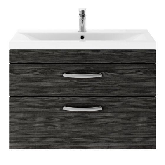 Nuie Athena 800mm 2 Drawer Wall Hung Cabinet & Minimalist Basin - Hacienda Black