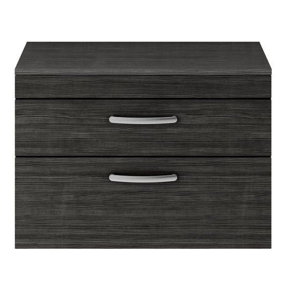 Nuie Athena 800mm 2 Drawer Wall Hung Cabinet & Worktop - Hacienda Black