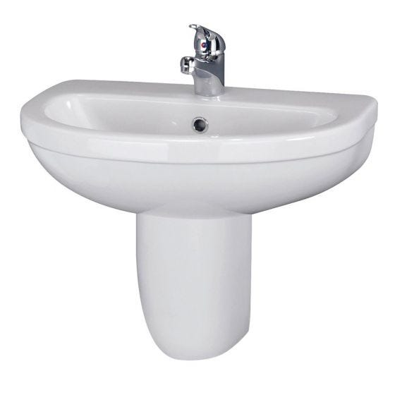 Nuie Ivo 550mm 1 Tap Hole Basin & Semi Pedestal