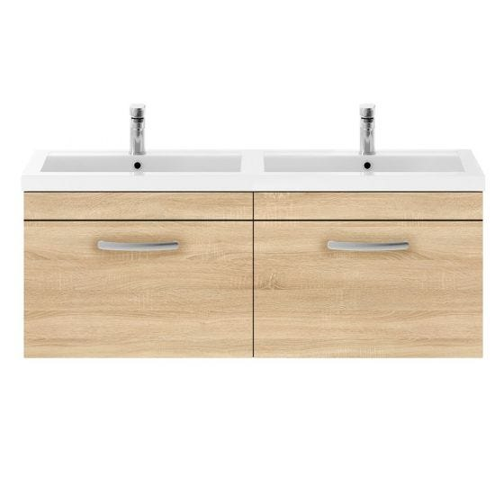 Nuie Athena 1200mm 2 Drawer Wall Hung Cabinet & Basin - Natural Oak