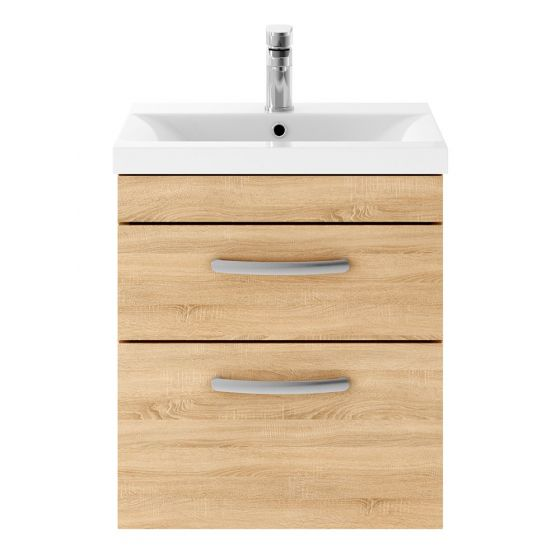 Nuie Athena 500mm 2 Drawer Wall Hung Cabinet & Minimalist Basin - Natural Oak