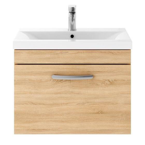 Nuie Athena 600mm Wall Hung Cabinet & Minimalist Basin - Natural Oak