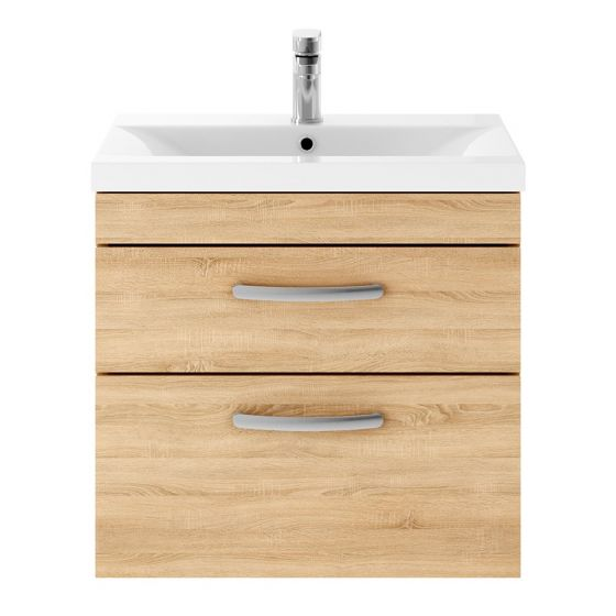 Nuie Athena 600mm 2 Drawer Wall Hung Cabinet & Minimalist Basin - Natural Oak