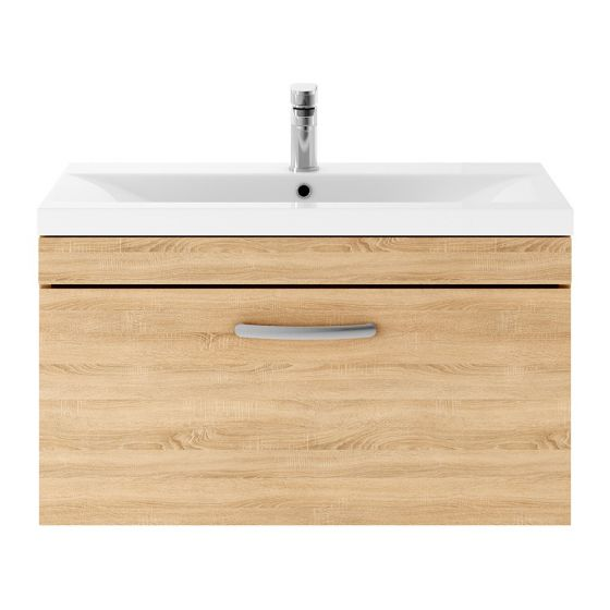 Nuie Athena 800mm Wall Hung Cabinet & Mid-Edge Basin - Natural Oak