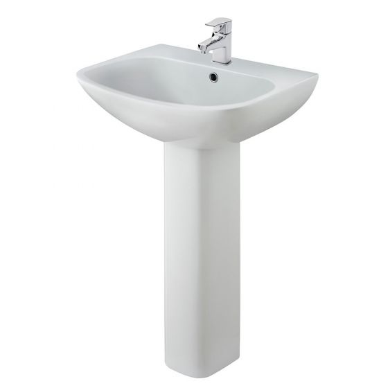 Nuie Ava 545mm 1 Tap Hole Basin & Pedestal