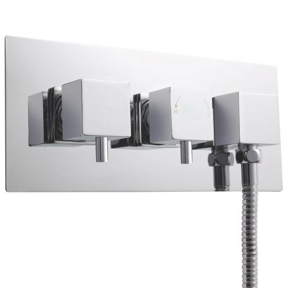 Premier Volt Twin Thermostatic Shower Valve With Diverter and Built-in Outlet