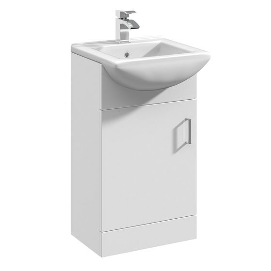 Nuie Mayford 450mm Basin Unit With Square Bowl - Gloss White