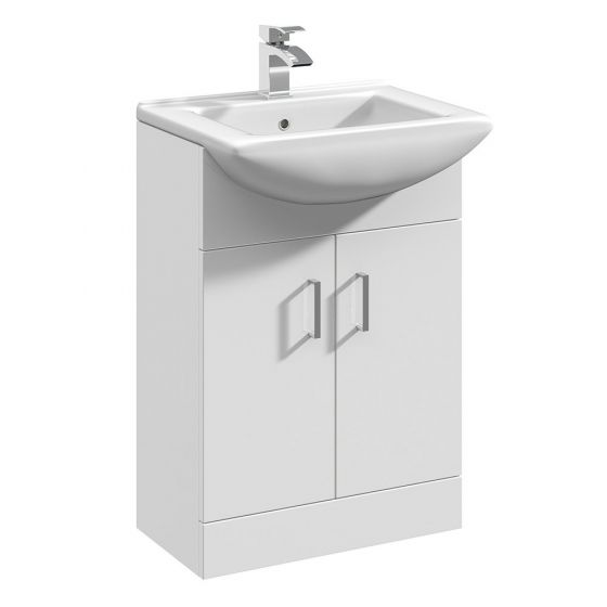 Nuie Mayford 550mm Basin Unit With Square Bowl - Gloss White