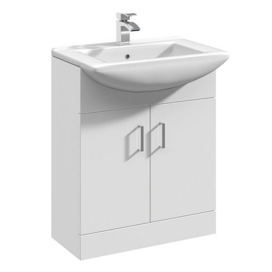 Nuie Mayford 650mm Basin Unit With Square Bowl - Gloss White