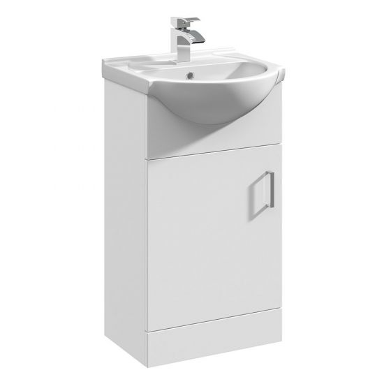 Nuie Mayford 450mm Basin Unit With Curved Bowl - Gloss White