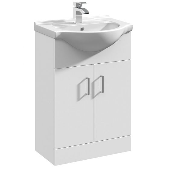 Nuie Mayford 550mm Basin Unit With Curved Bowl - Gloss White