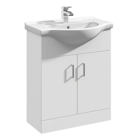 Nuie Mayford 650mm Basin Unit With Curved Bowl - Gloss White