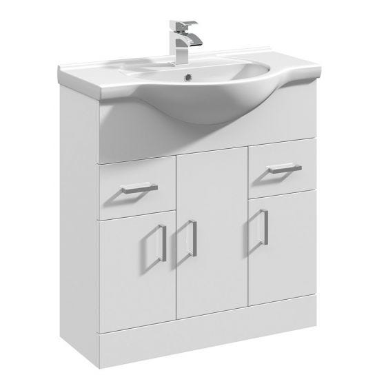Nuie Mayford 750mm Basin Unit With Curved Bowl - Gloss White