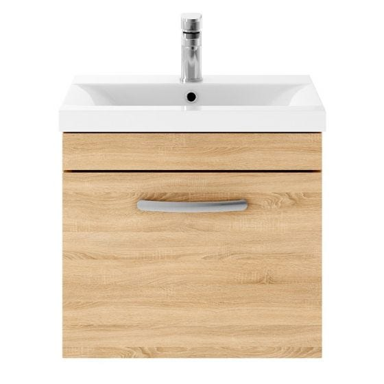 Nuie Athena 500mm Wall Hung Cabinet & Mid-Edge Basin - Natural Oak