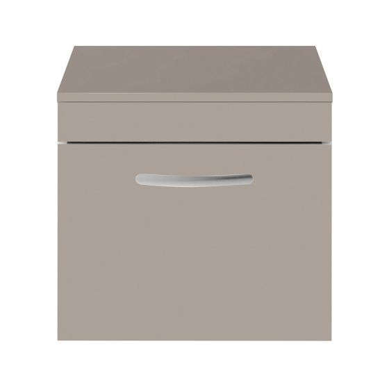Nuie Athena 500mm Wall Hung Cabinet And Worktop - Stone Grey