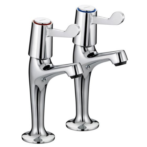 """Bristan Lever High Neck Pillar Taps with 3"""" Levers"""