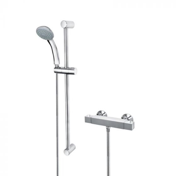 Cascade Edge Square Thermostatic Bar Mixer & Riser Rail Kit