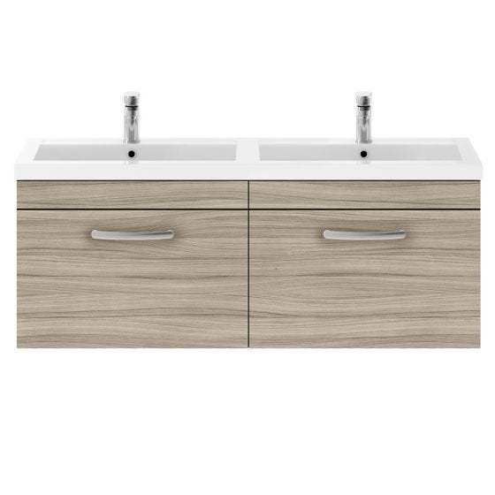 Nuie Athena 1200mm 2 Drawer Wall Hung Cabinet & Basin - Driftwood