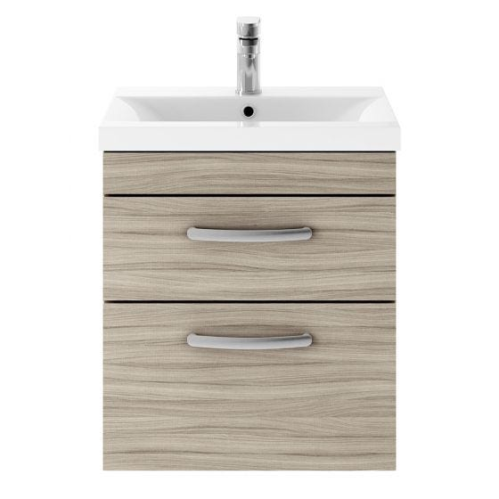 Nuie Athena 500mm 2 Drawer Wall Hung Cabinet & Minimalist Basin - Driftwood